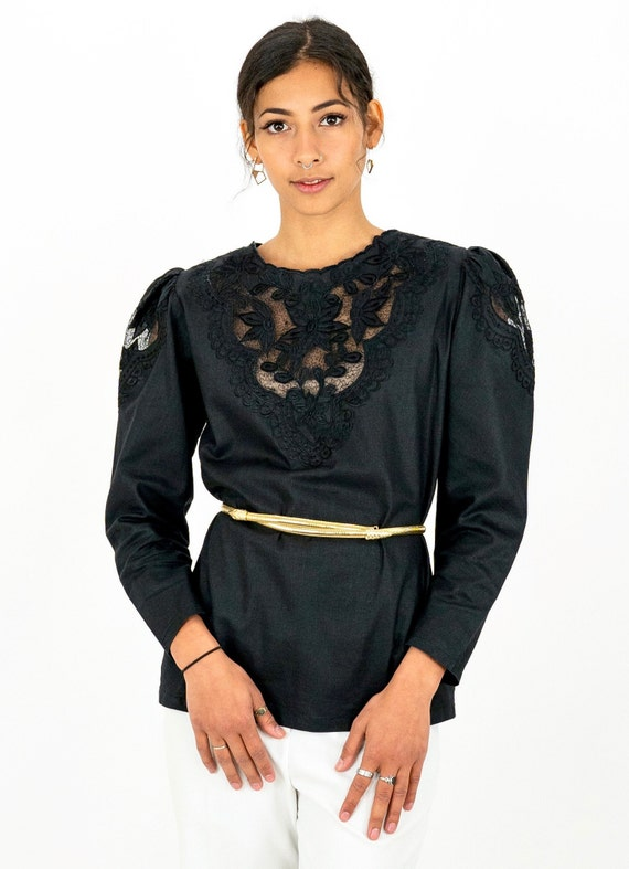 1980s Black Embroidered Floral Cutwork Puff Sleev… - image 4
