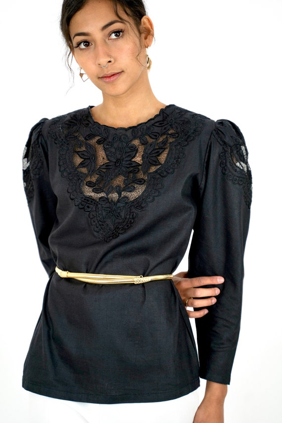 1980s Black Embroidered Floral Cutwork Puff Sleev… - image 3