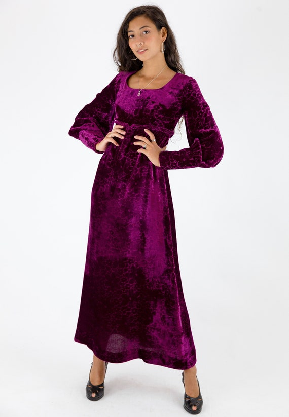 1970s Plum Floral Velvet Empire Line Maxi Dress