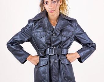 1970's Black Leather Semi Fitted Unisex Jacket Coat.