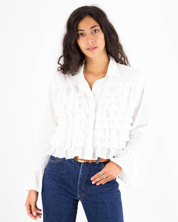 1990s White Cotton Multi Ruffle Front Blouse