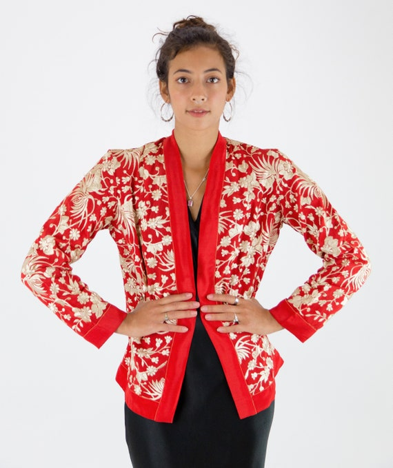 1920s Embroidered Oriental Chinese Red Silk Jacket