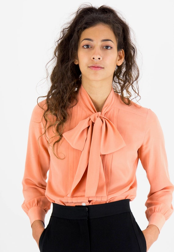 1980s Silk Cacharel High Neck Pussy Bow Blouse