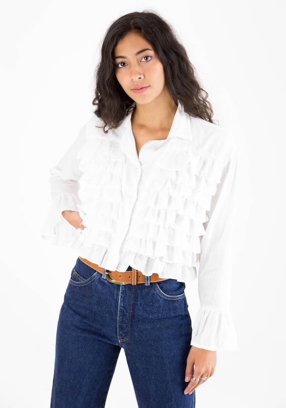 1990s White Cotton Multi Ruffle Front Blouse - image 4