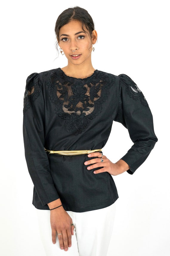1980s Black Embroidered Floral Cutwork Puff Sleev… - image 2