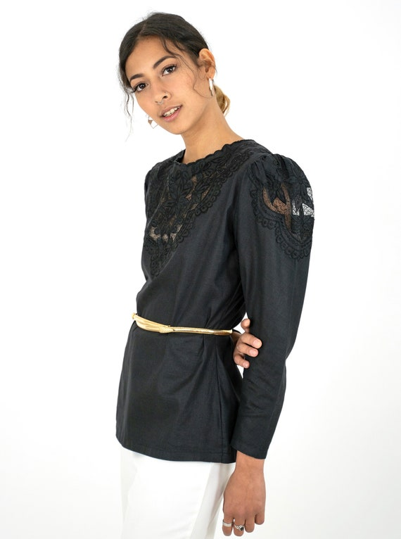 1980s Black Embroidered Floral Cutwork Puff Sleev… - image 6