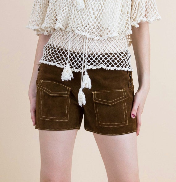 1970's Brown Suede Lace Up Festival Hippie Shorts