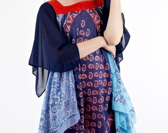 Bohemian Dreams Vintage 70's Floaty Mixed Pattern Angel Sleeve Scarf Top Dress