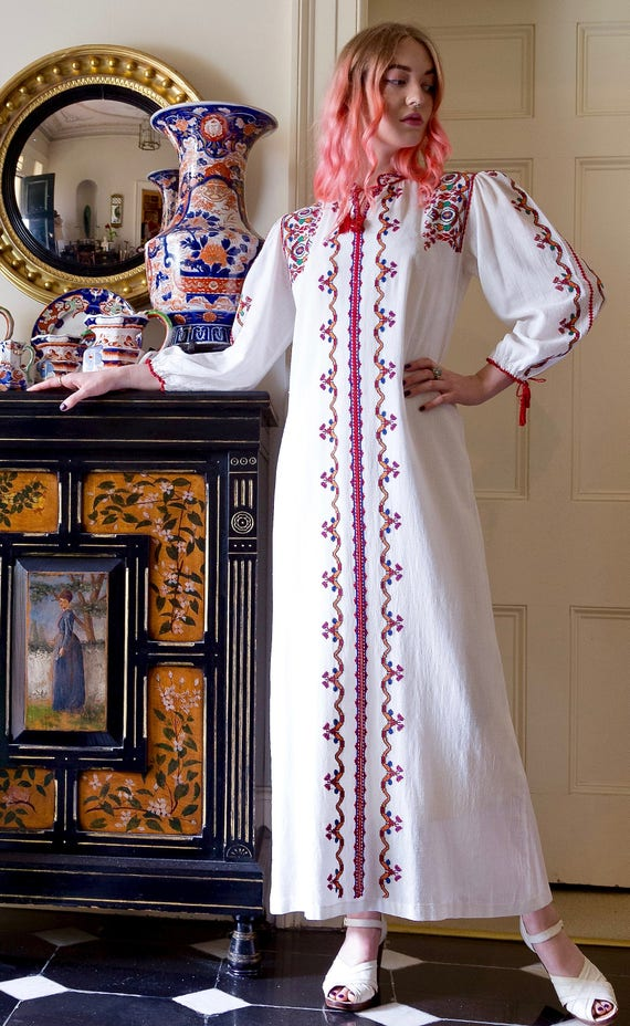 1970s Embroidered Bohemian Puff Sleeve Cotton Maxi