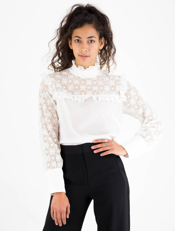 1960s White Lace High Collar Puff Sleeve Blouse