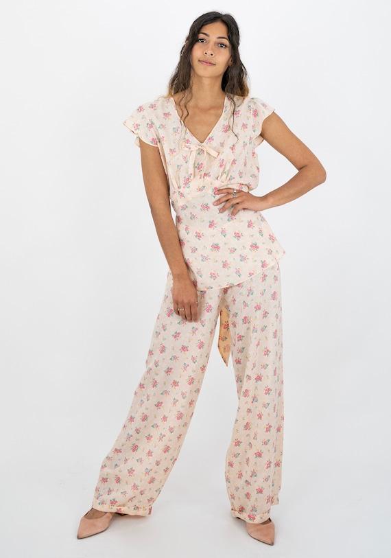 1940's Peach Pink Floral Boudoir Lounging Pyjama S