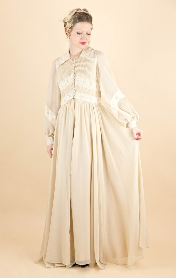 1970's Gauze and Cream Lace Poet Sleeve Maxi Dress
