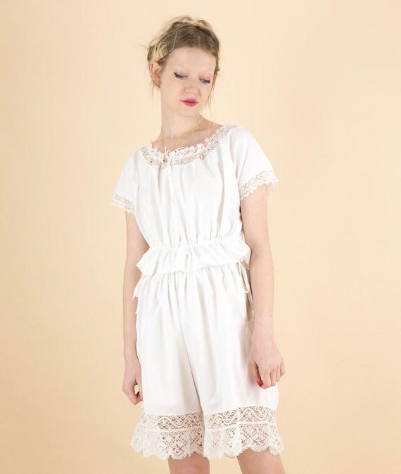 Antique Victorian White Cotton Lace Trim Camisole