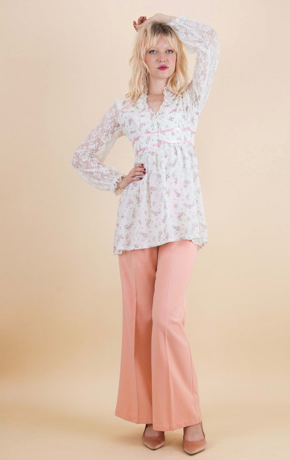1970's Prairie Floral Lace Sleeves Baby Doll Blou… - image 3