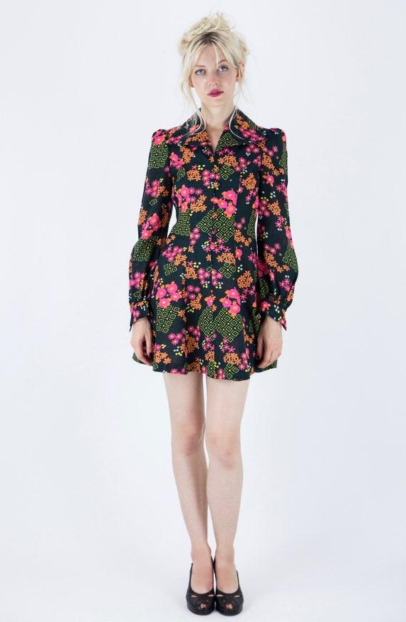 1970s Floral Puff Sleeve Mini Dress