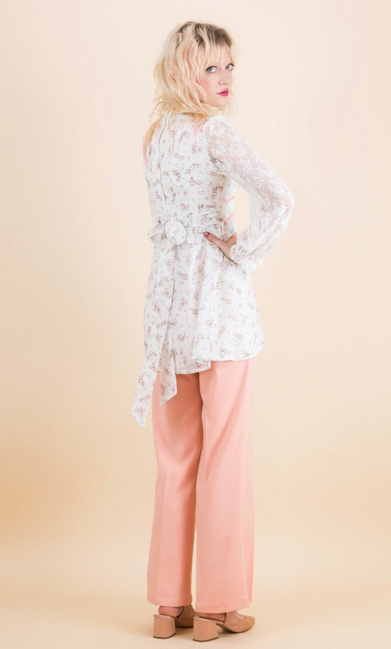 1970's Prairie Floral Lace Sleeves Baby Doll Blou… - image 7