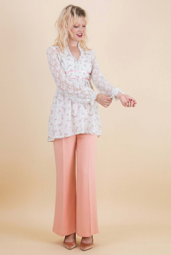 1970's Prairie Floral Lace Sleeves Baby Doll Blou… - image 5