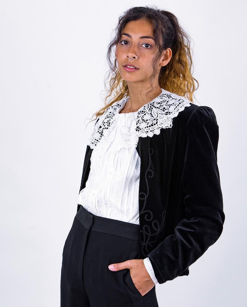1980/'s Black Velvet Braid Applique Spanish Influence Jacket Coat