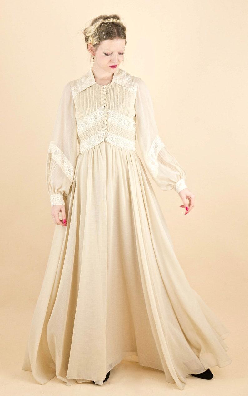 Divine Vintage 70/'s Beige Gauze and Cream Lace Poet Sleeve Maxi Dress