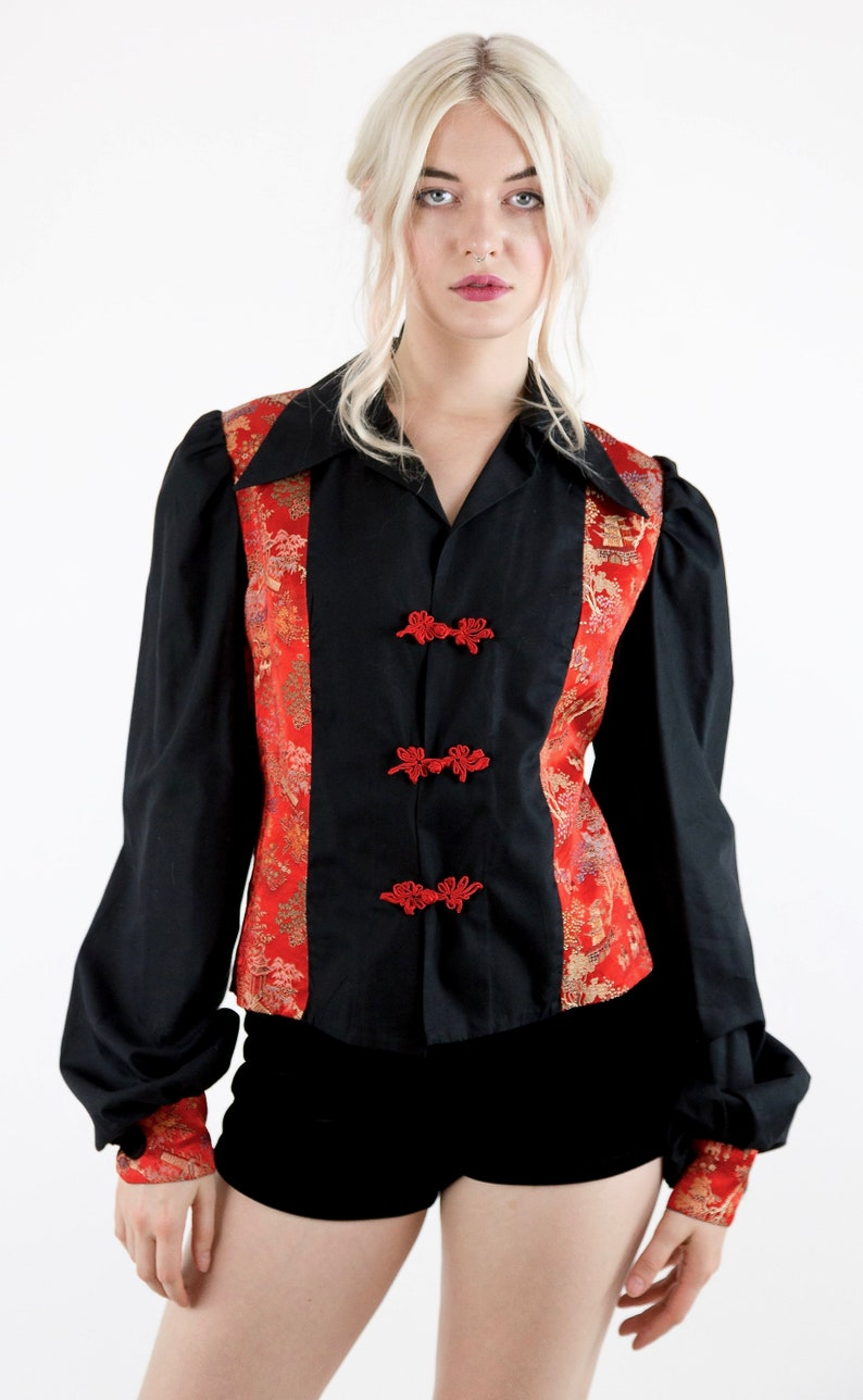 Awesome Vintage 70/'s Black Cotton and Red Oriental Satin Brocade Long Poet Sleeve Jacket Blouse