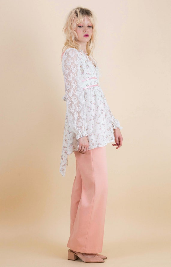 1970's Prairie Floral Lace Sleeves Baby Doll Blou… - image 2