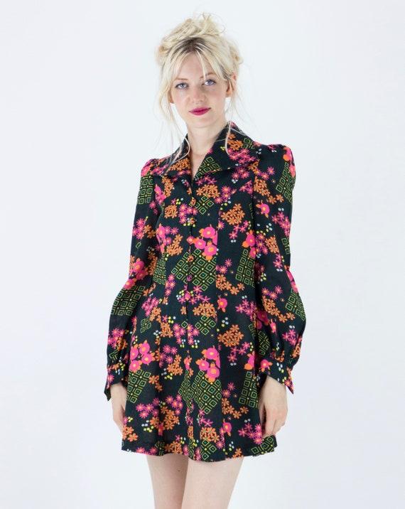 1970s Floral Puff Sleeve Mini Dress - image 2