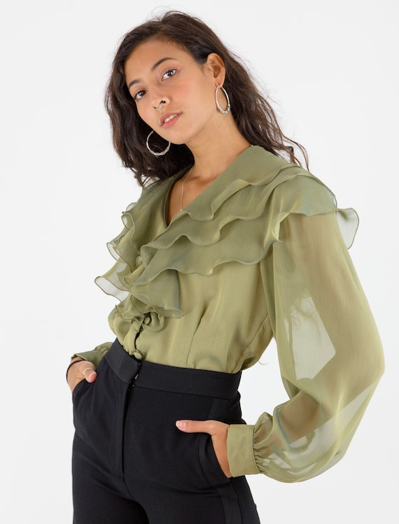 1980's Semi Sheer Bronze Khaki Green Ruffle Collar