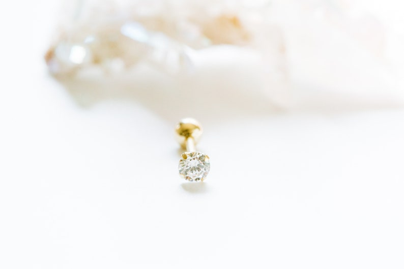 14K Solid Yellow Gold Simulated Diamond Cz Small Round Ball Tragus Helix Cartilage Conch Ear Stud Earring Piercing For Women Jewelry Wedding