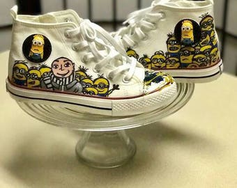 Minions-inspired hand painted canvas shoes