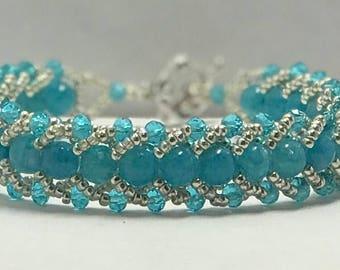 Blue dyed quartzite and crystal  flat stitch bracelet