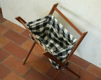 Folding danish teak wool basket