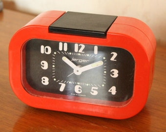 70s bright orange Jerger alarm clock