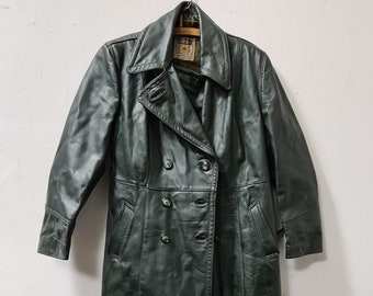 Vintage green leather driving coat URZO  Holland