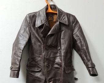 Vintage brown leather driving coat Gouden Ridder Holland