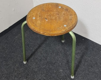 Vintage stack-able industrial work shop stool
