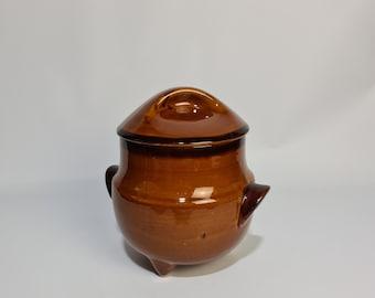 "Vintage French pottery cauldron by St Clement ,""Provencal Cognac"" ."