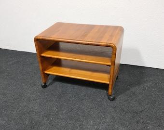 Vintage teak rolling audio or side table by Hornbaek Mobelfabrik