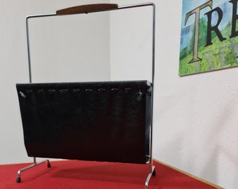 Vintage faux leather and chrome magazine or paper rack