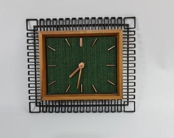 Vintage teak and metal wall clock