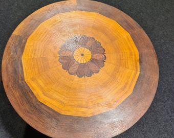 Vintage wooden inlay or marquetry table