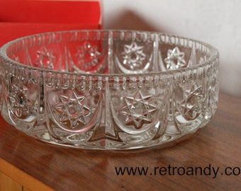 Vintage glass Bowl by Walther Glass, fruitbowl, platter