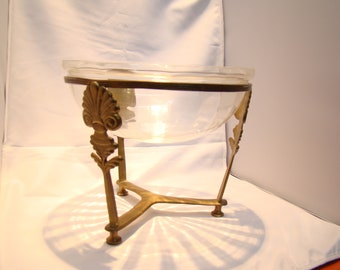 Vintage Glass bowl on ornate brass stand