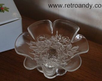 vintage glass dish on foot by Walther glass  design Bianca