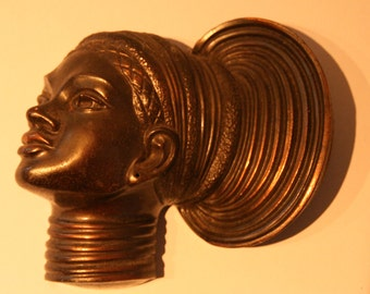 Nubian African princess [bronze?] wall mask
