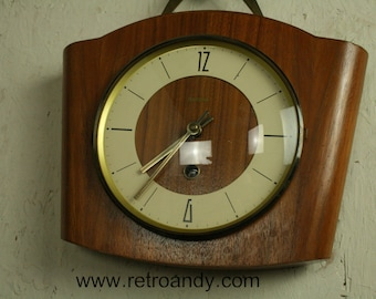 vintage 50s teak and brass  mechanical wall clock