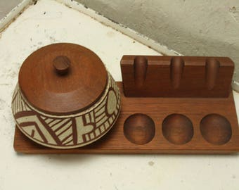 Vintage teak and ceramic pipe and tobacco stand