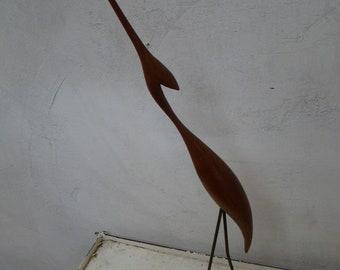Vintage teak stork or crane bird