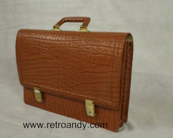 Vintage leather school bag even briefcase