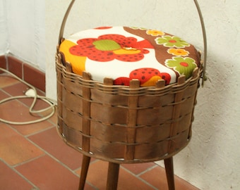 vintage 70s sewing basket