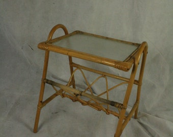 vintage bamboo end table come paper rack